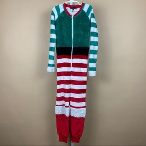 Derek Heart Christmas Fuzzy Onesie Pajama Outfit